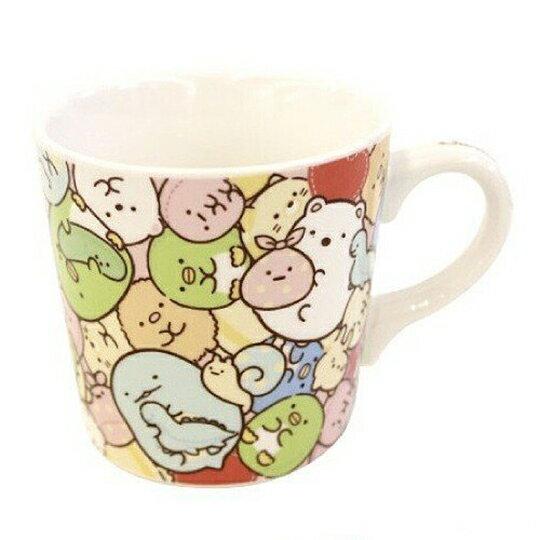 小禮堂 角落生物 陶瓷馬克杯 附方巾 咖啡杯 茶杯 手帕 260ml (粉黃 抱愛心)