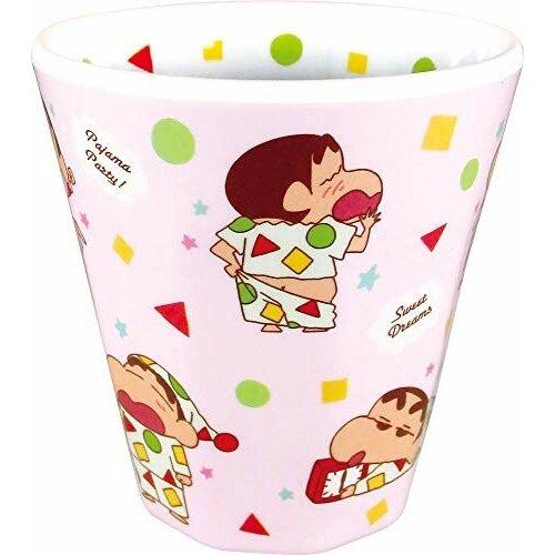 【領券折$30】小禮堂 蠟筆小新 美耐皿杯 無把 兒童水杯 漱口杯 塑膠杯 270ml (粉綠 睡衣)