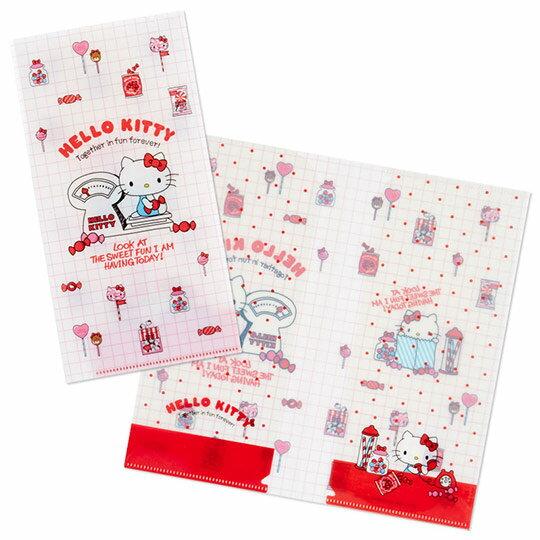 小禮堂 Hello Kitty 日製 票據夾 雙開式文件夾 資料夾 檔案夾 收納夾 (白 磅秤)