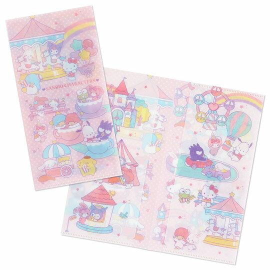 小禮堂 Sanrio大集合 日製 票據夾 雙開式文件夾 資料夾 檔案夾 收納夾 (粉 遊樂園)