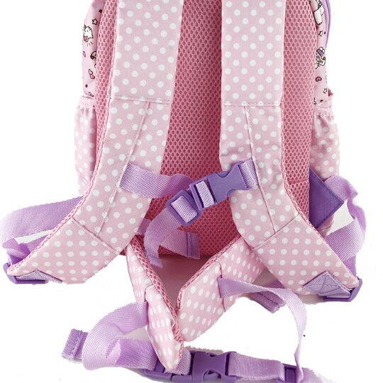 小禮堂 Hello Kitty 後背包 兒童背包 尼龍 掀蓋雙層拉鍊 雙肩包 書包 (粉紫 杯子蛋糕)