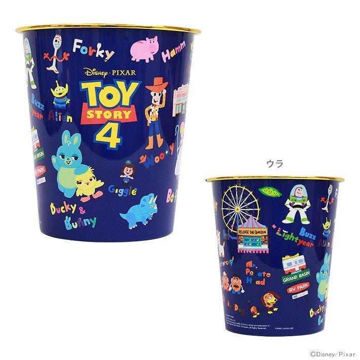 小禮堂 迪士尼 玩具總動員4 垃圾桶 塑膠桶 書報桶 收納桶 置物桶 無蓋 圓形 (深藍 滿版)