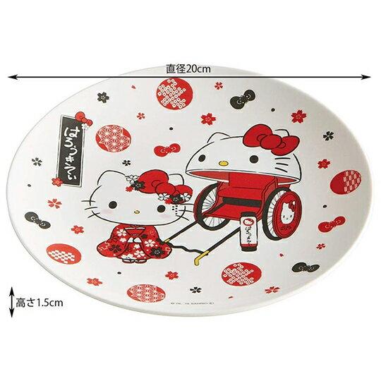 小禮堂 Hello Kitty 美耐皿盤 圓盤 淺盤 點心盤 塑膠盤 (紅白 人力車)