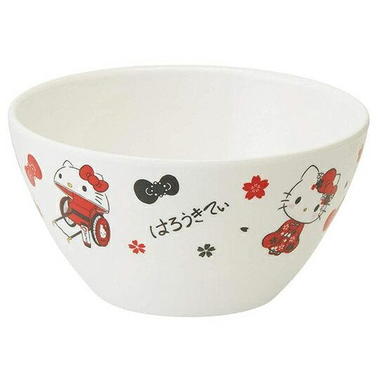 小禮堂 Hello Kitty 美耐皿碗 平底碗 飯碗 塑膠碗 500ml (紅白 人力車)