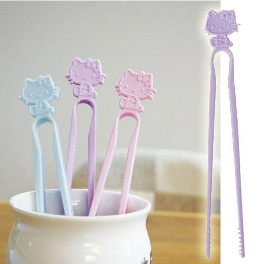 小禮堂 Hello Kitty 日製 不沾手零食夾 塑膠 食物夾 餅乾夾 夾子 (紫) 0