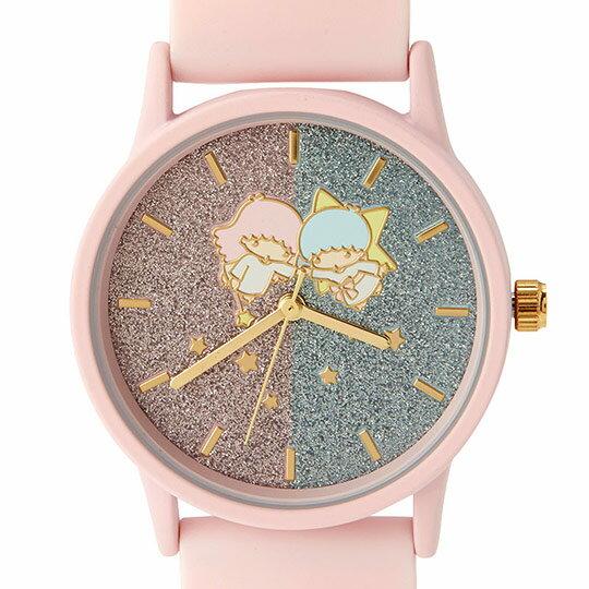 小禮堂 雙子星 矽膠錶帶腕錶手錶 休閒手錶 淑女錶 透明盒裝 (粉 亮粉)