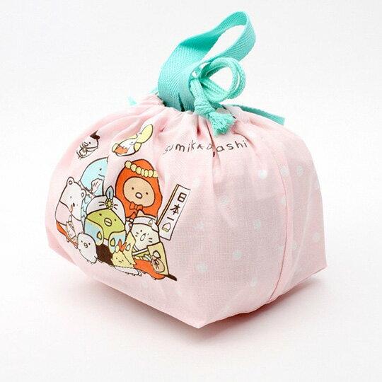 小禮堂 角落生物 日製 棉質束口便當袋 束口手提袋 小物袋 縮口袋 (粉綠 童話)