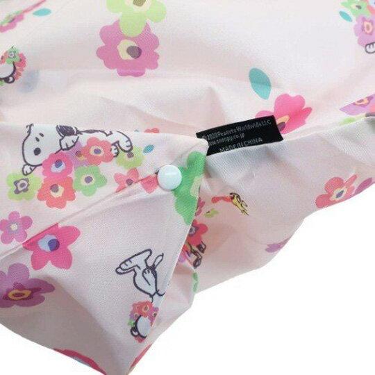 小禮堂 史努比 折疊尼龍環保購物袋 環保袋 側背袋 (粉 花朵)