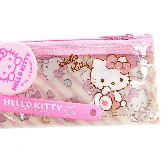 小禮堂 Hello Kitty 旅行牙刷組 牙刷袋 乳液盒 盥洗組 附牙刷蓋  (粉黃 斜紋)