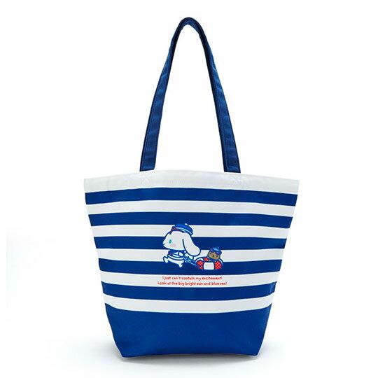 小禮堂 大耳狗 束口帆布側背袋 帆布手提袋 束口提袋 帆布袋 (藍白 活力海軍)