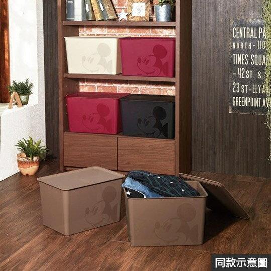 小禮堂 迪士尼 米奇 日製 方形塑膠拿蓋收納箱 玩具箱 衣物箱 17L (L 紅 大臉)