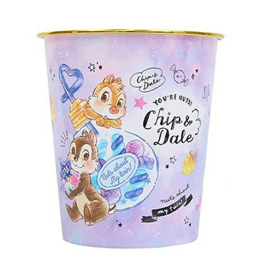 小禮堂 迪士尼 奇奇蒂蒂 圓形無蓋垃圾桶 塑膠垃圾桶 圓垃圾桶 收納桶 (紫 燈泡罐)