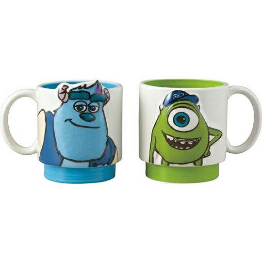 【領券折$30】小禮堂 迪士尼 怪獸大學 陶瓷馬克杯組 咖啡杯 陶瓷杯 情侶對杯 265ml (2入 綠藍 大臉)