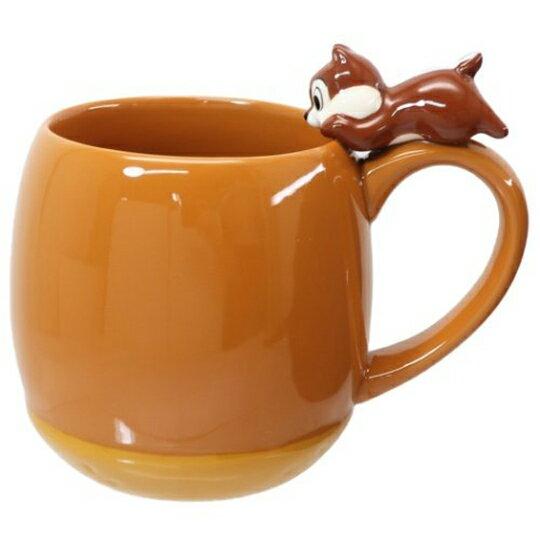 【領券折$30】小禮堂 迪士尼 奇奇 造型陶瓷馬克杯 咖啡杯 陶瓷杯 茶杯 300ml (淺棕 杯邊玩偶)