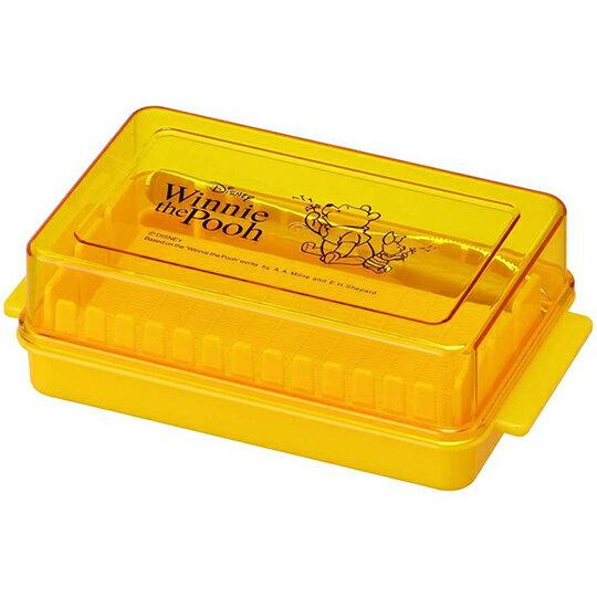 【領券折$30】小禮堂 迪士尼 小熊維尼 日製 方形奶油塊保鮮盒 附鐵叉 奶油切割盒 奶油盒 保鮮盒 (黃 蒲公英)