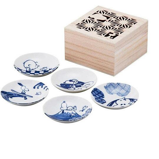 小禮堂 史努比 日製 迷你陶瓷圓盤組 附木盒 醬料盤 小菜盤 小碟 YAMAKA陶瓷 (5入 藍 海浪)