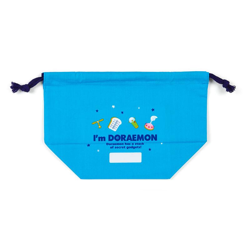 小禮堂 哆啦A夢 日製 棉質束口便當袋 束口手提袋 小物袋 縮口袋 (藍白 大臉)