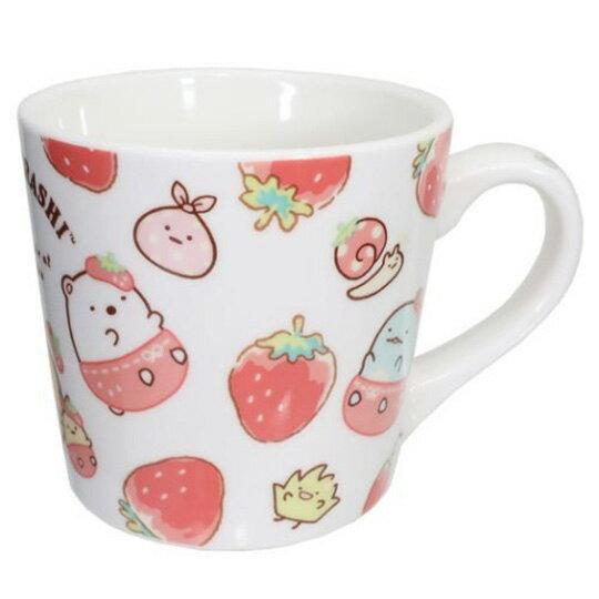 小禮堂 角落生物 陶瓷馬克杯 附方巾 咖啡杯 茶杯 手帕 (紅白 草莓)