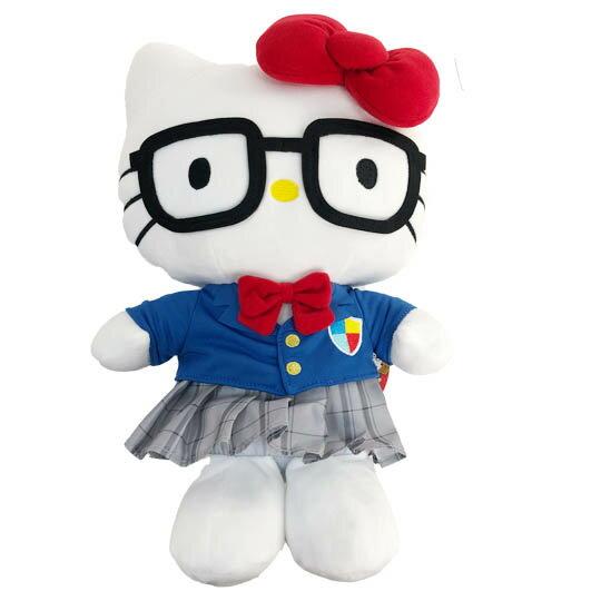 【領券折$30】小禮堂 Hello Kitty 絨毛玩偶 絨毛娃娃 布偶 (M 藍灰制服)