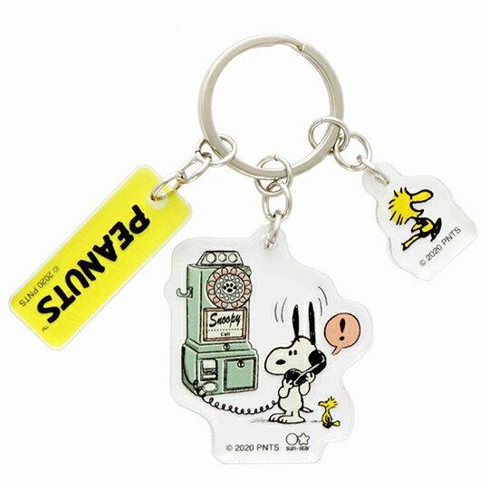 【領券折$120】小禮堂 史努比 日製 造型壓克力鑰匙圈 透明鑰匙圈 壓克力吊飾 (綠黃 電話)