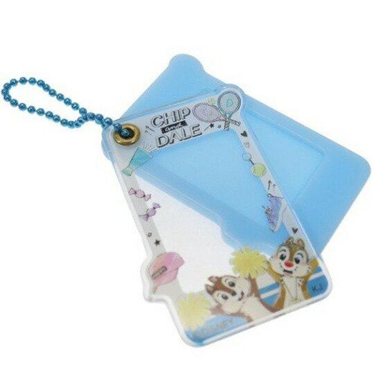【領券折$120】小禮堂 迪士尼 奇奇蒂蒂 造型壓克力相片吊飾 相框鑰匙圈 相框吊飾 (藍 球拍)