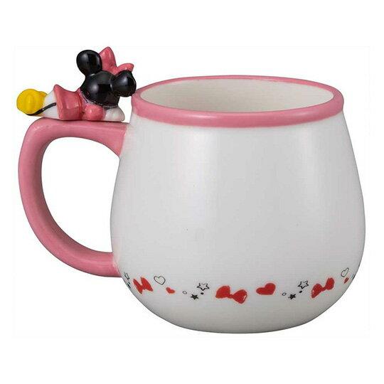 【領券折$30】小禮堂 迪士尼 米妮 造型陶瓷馬克杯 咖啡杯 茶杯 陶瓷杯 340ml (粉白 杯邊玩偶)