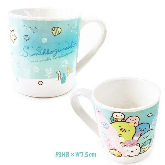 小禮堂 角落生物 陶瓷馬克杯 附方巾 咖啡杯 茶杯 手帕 (綠 海底)
