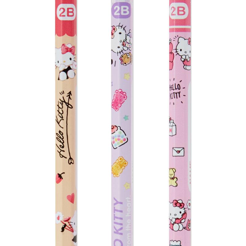 小禮堂 Hello Kitty 六角鉛筆組 2B鉛筆 木鉛筆 (3入 粉 滿版)