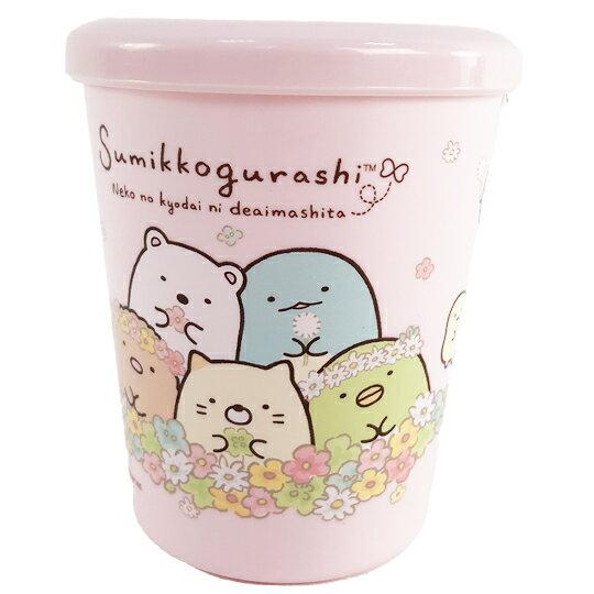 【領券折$30】小禮堂 角落生物 日製 單耳塑膠杯 附蓋 兒童水杯 漱口杯 小水杯 260ml (粉 花圈)