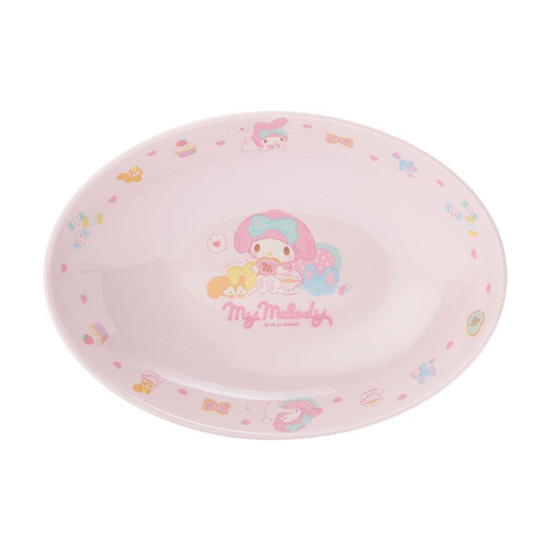 小禮堂 美樂蒂 橢圓形美耐皿盤 兒童餐盤 沙拉盤 點心盤 塑膠盤 (粉 2021新生活)