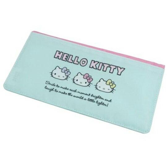 【領券折$30】小禮堂 Hello Kitty 尼龍扣式口罩包 抗菌口罩夾 口罩套 小物包 (綠粉 大臉)