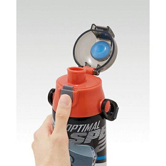 小禮堂 迪士尼 閃電麥坤 彈蓋不鏽鋼保溫瓶 附背帶 超輕量不鏽鋼水壺 隨身瓶 580ml (灰 對看)