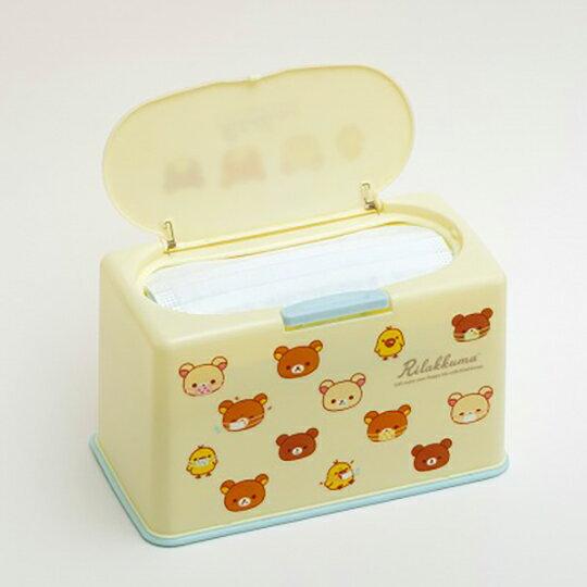 【領券折$30】小禮堂 懶懶熊 方形按壓彈蓋口罩盒 塑膠口罩盒 口罩收納盒 面紙盒 (黃 大臉)