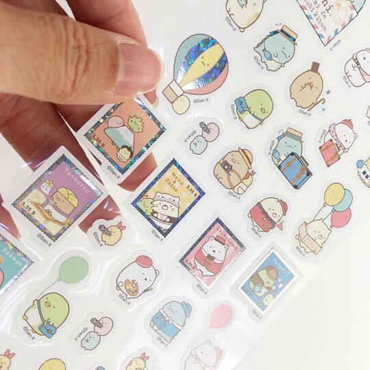 小禮堂 角落生物 造型鐳射貼紙 卡片貼紙 手帳貼紙 貼紙組 (綠 旅遊)