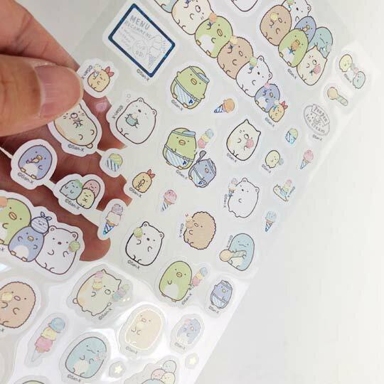 小禮堂 角落生物 造型鐳射貼紙 卡片貼紙 手帳貼紙 貼紙組 (粉 冰淇淋)