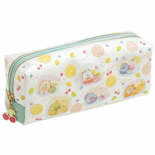 小禮堂 角落生物 防水雙拉鍊筆袋 防水筆袋 雙層筆袋 鉛筆袋 鉛筆盒 (白 水果)
