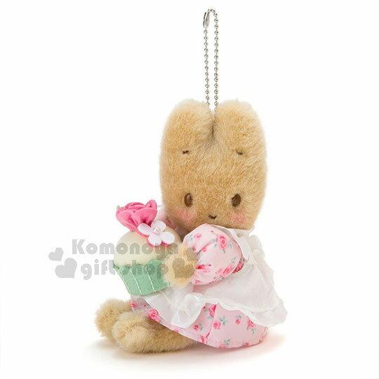 〔小禮堂〕兔媽媽 絨毛玩偶吊飾《粉.側坐》掛飾.擺飾.杯子蛋糕系列 0
