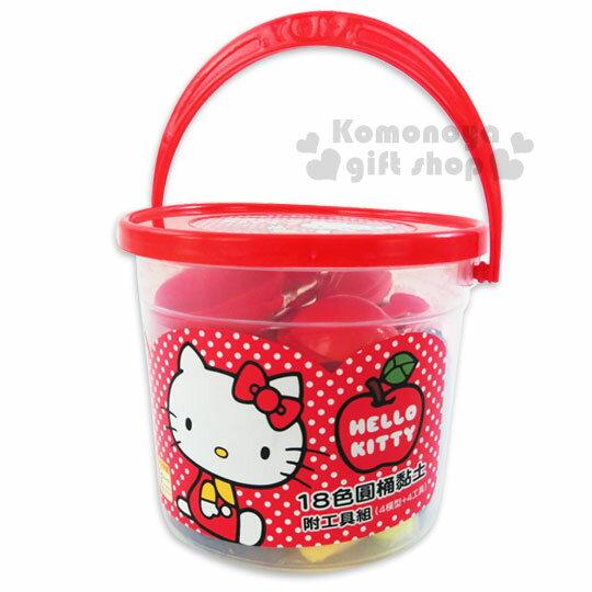 〔小禮堂〕Hello Kitty 18色黏土玩具《紅蓋.桶裝.點點.蘋果.坐姿》內附造型壓模