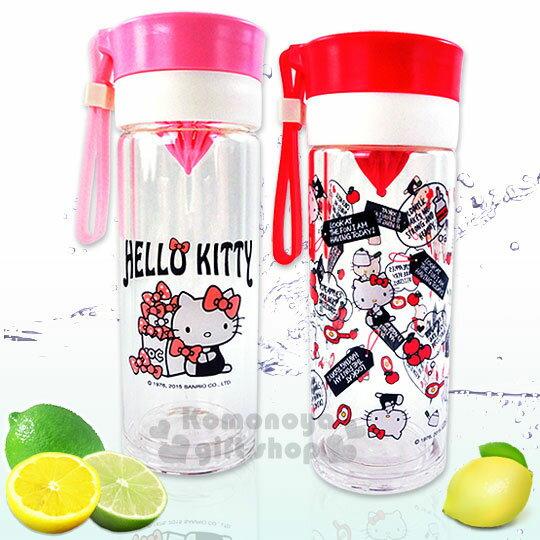 〔小禮堂〕Hello Kitty 清涼隨身檸檬瓶《2色選1.紅/粉.360ml》雙層耐熱玻璃