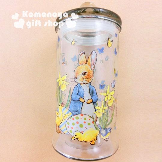 〔小禮堂〕彼得兔 玻璃儲物罐《透明.兔子.小雞.900ml》群蝶飛舞系列