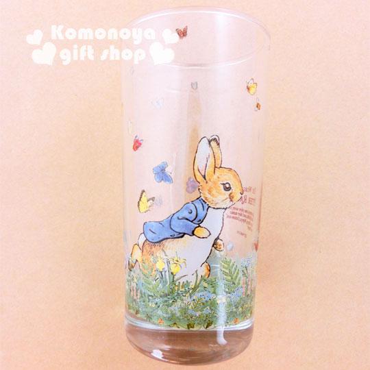 〔小禮堂〕彼得兔 玻璃直水杯~透明.兔子.跑步.420ml~群蝶飛舞系列
