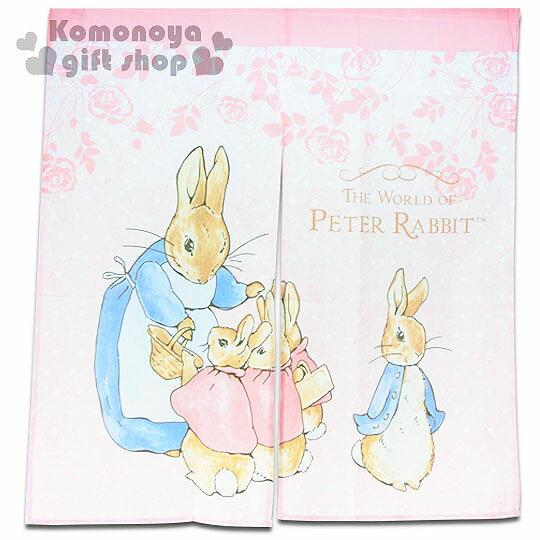 〔小禮堂〕Peter Rabbit 彼得兔 中長門簾《粉.站姿.玫瑰》85x90cm
