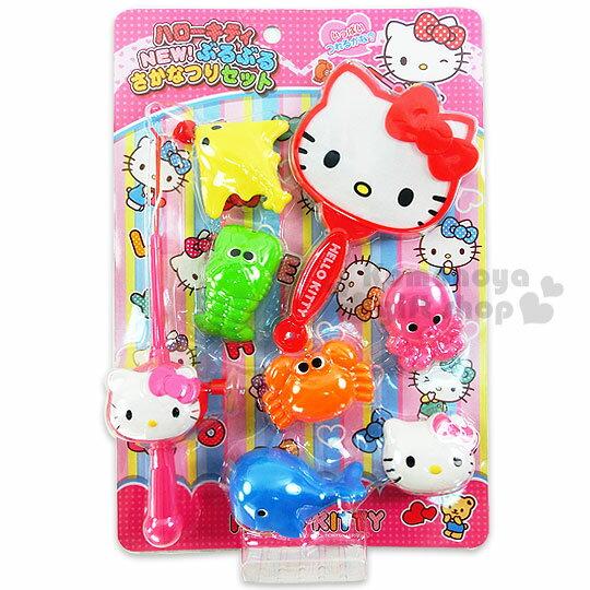 〔小禮堂嬰幼館〕Hello Kitty 釣魚玩具組《粉紅.釣竿.螃蟹.撈魚網》適合3歲以上孩童