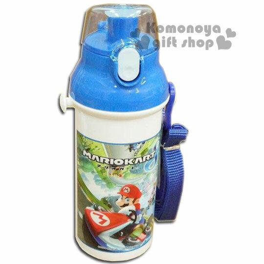 特價399↘〔小禮堂〕超級瑪莉歐 日製直飲式水壺《藍白.賽車》容量480ml