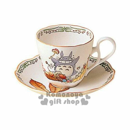 〔小禮堂〕宮崎駿 Totoro龍貓 陶瓷咖啡杯盤組《綠.枯葉.栗子.邊緣花草》 Noritake精緻陶瓷