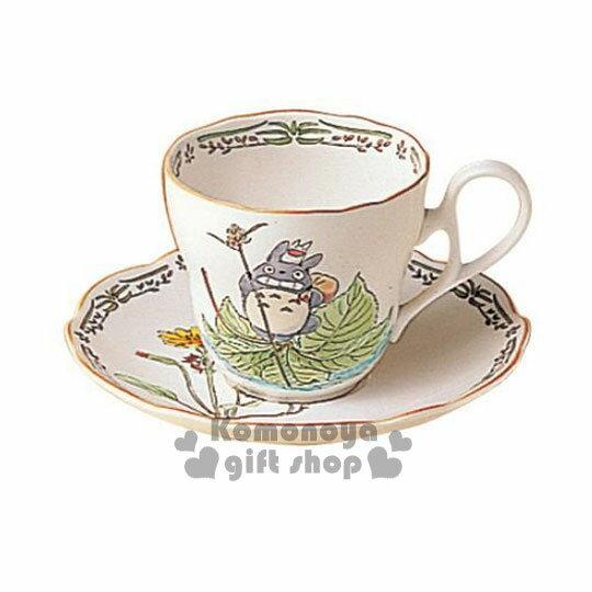 〔小禮堂〕宮崎駿 Totoro龍貓 陶瓷咖啡杯盤組《綠.楓葉.站姿.邊緣花草》Noritake精緻陶瓷