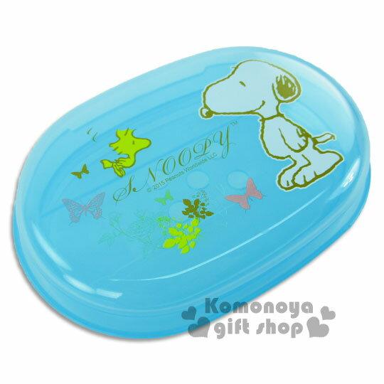 〔小禮堂〕Snoopy 史努比 香皂盒《藍.蝴蝶》輕鬆美化空間
