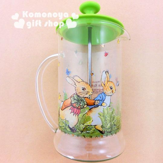 〔小禮堂〕彼得兔 玻璃沖茶器《透明.兔子.跑步.650ml》群蝶飛舞系列