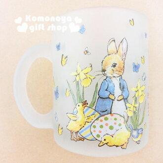 〔小禮堂〕彼得兔 玻璃馬克杯《霧面.兔子.小雞.350ml》群蝶飛舞系列