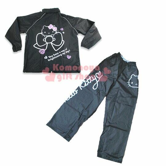 〔小禮堂〕Hello Kitty 休閒套裝式雨衣~黑.大臉.緞帶~L^~2XL